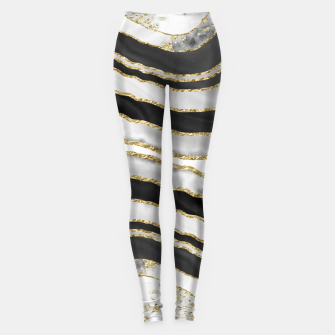 Miniatur Gray Black White Gold Agate Glam #1 #gem #decor #art  Leggings, Live Heroes