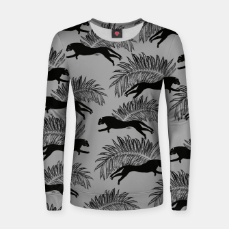 Thumbnail image of Black Panther Palm Glitter Glam #2 #tropical #decor #art Frauen sweatshirt, Live Heroes