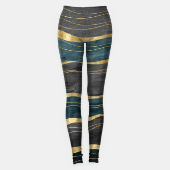 Miniatur Black & Teal Ink Waves with Gold #1 #decor #art Leggings, Live Heroes