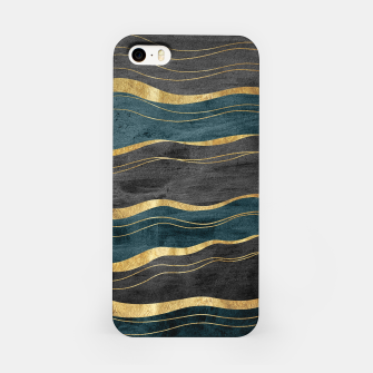 Miniaturka Black & Teal Ink Waves with Gold #1 #decor #art iPhone-Hülle, Live Heroes