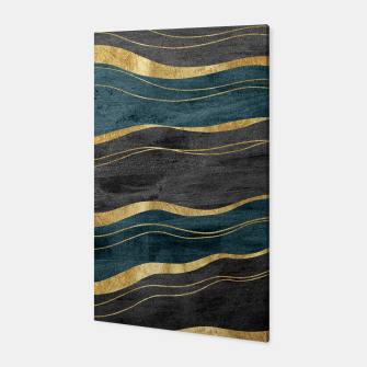 Miniaturka Black & Teal Ink Waves with Gold #1 #decor #art Canvas, Live Heroes