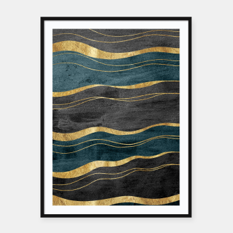 Miniatur Black & Teal Ink Waves with Gold #1 #decor #art Plakat mit rahmen, Live Heroes