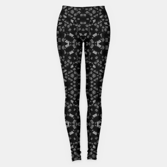 Miniatur Black and White Tech Pattern Leggings, Live Heroes