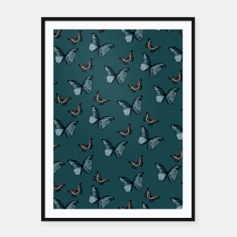 Miniatur Dark Teal & Black Butterfly Glam #1 #pattern #decor #art  Plakat mit rahmen, Live Heroes