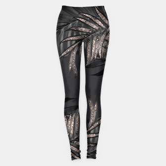Miniatur Gray Black Palm Leaves with Rose Gold Glitter #6 #tropical #decor #art Leggings, Live Heroes