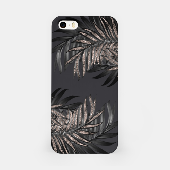 Miniaturka Gray Black Palm Leaves with Rose Gold Glitter #6 #tropical #decor #art iPhone-Hülle, Live Heroes