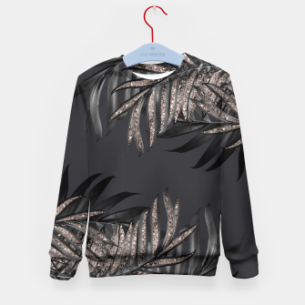 Thumbnail image of Gray Black Palm Leaves with Rose Gold Glitter #6 #tropical #decor #art Kindersweatshirt, Live Heroes