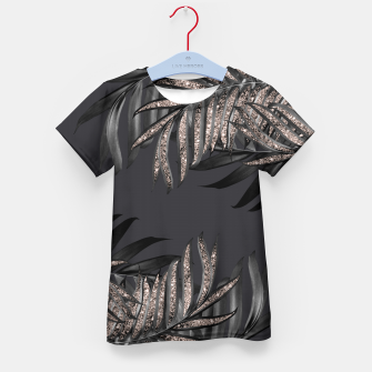 Miniatur Gray Black Palm Leaves with Rose Gold Glitter #6 #tropical #decor #art T-Shirt für kinder, Live Heroes