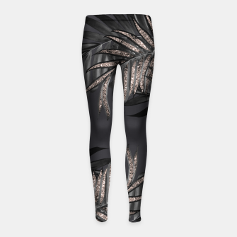 Thumbnail image of Gray Black Palm Leaves with Rose Gold Glitter #6 #tropical #decor #art Kinder-Leggins, Live Heroes
