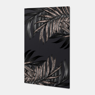 Thumbnail image of Gray Black Palm Leaves with Rose Gold Glitter #6 #tropical #decor #art Canvas, Live Heroes