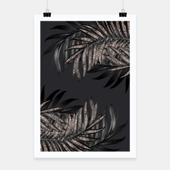 Thumbnail image of Gray Black Palm Leaves with Rose Gold Glitter #6 #tropical #decor #art Plakat, Live Heroes