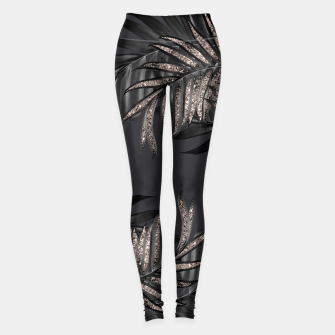 Thumbnail image of Gray Black Palm Leaves with Rose Gold Glitter #6 #tropical #decor #art Leggings, Live Heroes