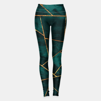 Thumbnail image of Dark Teal Ink Copper Gold Geometric Glam #1 #geo #decor #art  Leggings, Live Heroes