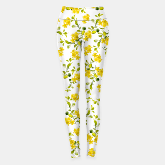 Thumbnail image of Yellow Flower Pattern #1 #spring #floral #decor #art  Leggings, Live Heroes