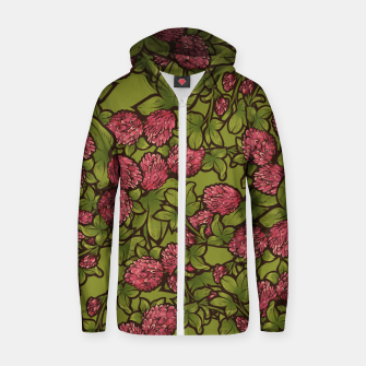 Thumbnail image of Red Clover Zip up hoodie, Live Heroes