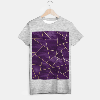 Miniatur Dark Purple Ink Gold Geometric Glam #1 #geo #decor #art T-Shirt regulär, Live Heroes