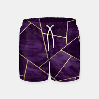 Miniatur Dark Purple Ink Gold Geometric Glam #1 #geo #decor #art Badeshorts, Live Heroes