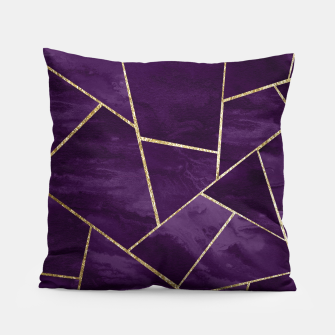 Miniatur Dark Purple Ink Gold Geometric Glam #1 #geo #decor #art Kissen, Live Heroes
