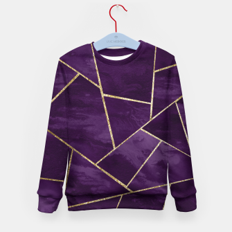 Miniatur Dark Purple Ink Gold Geometric Glam #1 #geo #decor #art Kindersweatshirt, Live Heroes