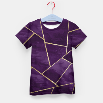 Miniatur Dark Purple Ink Gold Geometric Glam #1 #geo #decor #art T-Shirt für kinder, Live Heroes