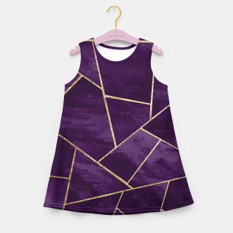 Miniaturka Dark Purple Ink Gold Geometric Glam #1 #geo #decor #art Mädchen-Sommerkleid, Live Heroes