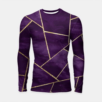 Miniatur Dark Purple Ink Gold Geometric Glam #1 #geo #decor #art Longsleeve rashguard, Live Heroes