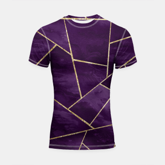 Miniatur Dark Purple Ink Gold Geometric Glam #1 #geo #decor #art Shortsleeve rashguard, Live Heroes