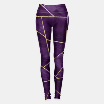 Miniature de image de Dark Purple Ink Gold Geometric Glam #1 #geo #decor #art Leggings, Live Heroes