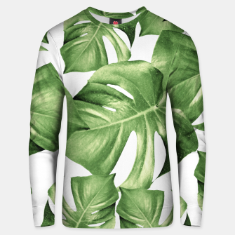 Miniature de image de Monstera Leaves Green Summer Vibes Pattern #1 #tropical #decor #art Unisex sweatshirt, Live Heroes