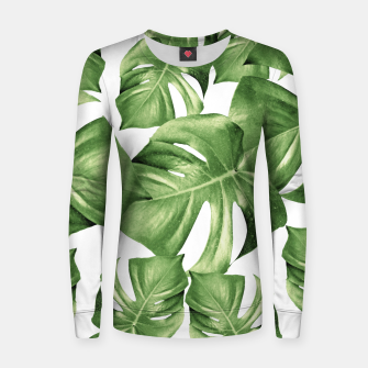 Miniature de image de Monstera Leaves Green Summer Vibes Pattern #1 #tropical #decor #art Frauen sweatshirt, Live Heroes