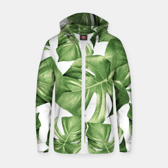 Miniature de image de Monstera Leaves Green Summer Vibes Pattern #1 #tropical #decor #art Reißverschluss kapuzenpullover, Live Heroes