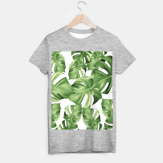 Miniature de image de Monstera Leaves Green Summer Vibes Pattern #1 #tropical #decor #art T-Shirt regulär, Live Heroes