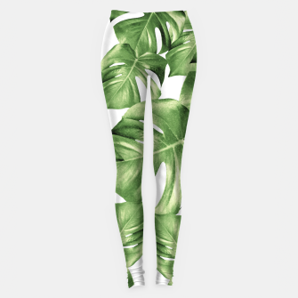 Miniature de image de Monstera Leaves Green Summer Vibes Pattern #1 #tropical #decor #art Leggings, Live Heroes