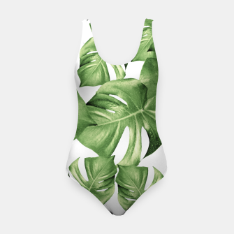 Miniatur Monstera Leaves Green Summer Vibes Pattern #1 #tropical #decor #art Badeanzug, Live Heroes