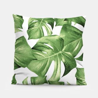 Miniatur Monstera Leaves Green Summer Vibes Pattern #1 #tropical #decor #art Kissen, Live Heroes