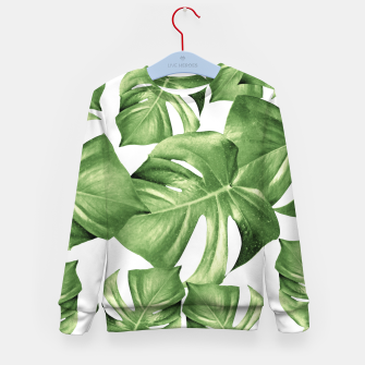 Miniature de image de Monstera Leaves Green Summer Vibes Pattern #1 #tropical #decor #art Kindersweatshirt, Live Heroes