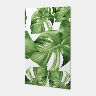 Miniatur Monstera Leaves Green Summer Vibes Pattern #1 #tropical #decor #art Canvas, Live Heroes