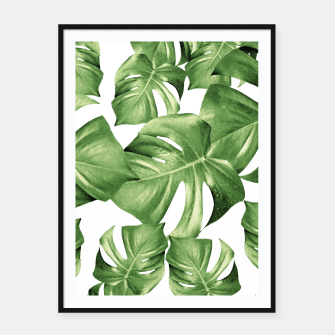 Miniature de image de Monstera Leaves Green Summer Vibes Pattern #1 #tropical #decor #art Plakat mit rahmen, Live Heroes