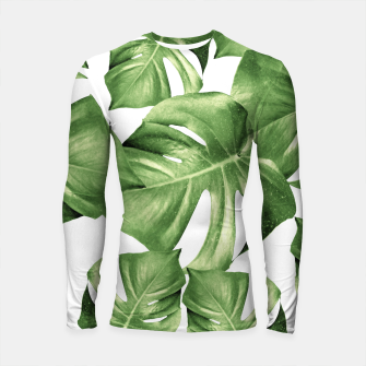Miniatur Monstera Leaves Green Summer Vibes Pattern #1 #tropical #decor #art Longsleeve rashguard, Live Heroes