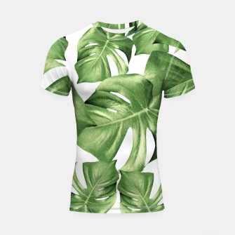 Miniature de image de Monstera Leaves Green Summer Vibes Pattern #1 #tropical #decor #art Shortsleeve rashguard, Live Heroes