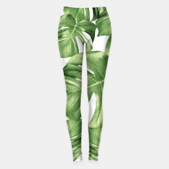 Miniatur Monstera Leaves Green Summer Vibes Pattern #1 #tropical #decor #art Leggings, Live Heroes