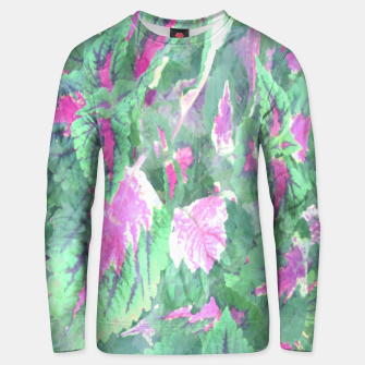 Thumbnail image of botanical coleus leaves camouflage art 1/3 ( green pink ) Unisex sweater, Live Heroes