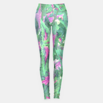 Miniatur botanical coleus leaves camouflage art 1/3 ( green pink ) Leggings, Live Heroes