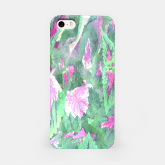 Miniaturka botanical coleus leaves camouflage art 1/3 ( green pink ) iPhone Case, Live Heroes