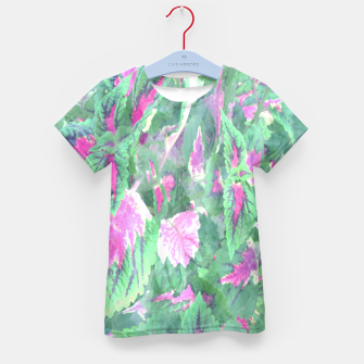 Miniatur botanical coleus leaves camouflage art 1/3 ( green pink ) Kid's t-shirt, Live Heroes