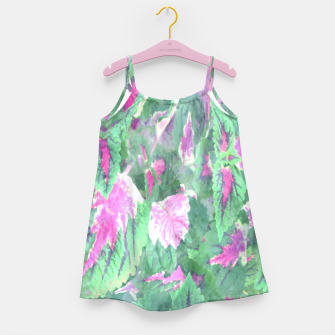Miniaturka botanical coleus leaves camouflage art 1/3 ( green pink ) Girl's dress, Live Heroes