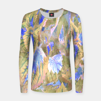 Miniatur botanical coleus leaves camouflage art 2/3 ( yellow blue ) Women sweater, Live Heroes