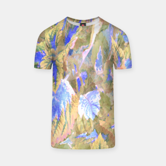 Thumbnail image of botanical coleus leaves camouflage art 2/3 ( yellow blue ) T-shirt, Live Heroes