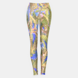 Miniatur botanical coleus leaves camouflage art 2/3 ( yellow blue ) Leggings, Live Heroes