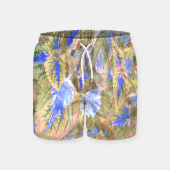 Miniatur botanical coleus leaves camouflage art 2/3 ( yellow blue ) Swim Shorts, Live Heroes